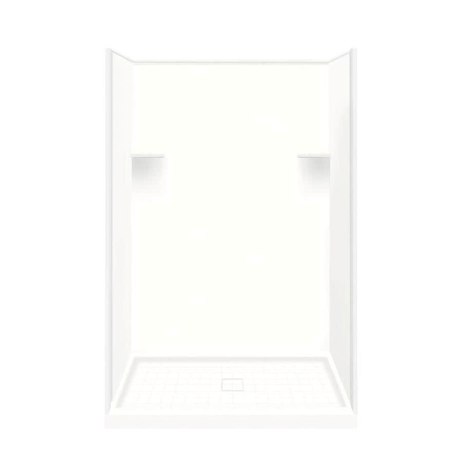 Style Selections White Solid Surface Wall and Floor 4-Piece Alcove Shower Kit (Common: 34-in x 48-in; Actual: 75-in x 34-in x 48-in)