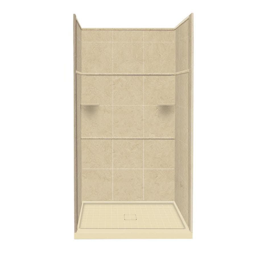 Style Selections Almond Sky Solid Surface Wall and Floor 5-Piece Alcove Shower Kit (Common: 34-in x 48-in; Actual: 99-in x 34-in x 48-in)
