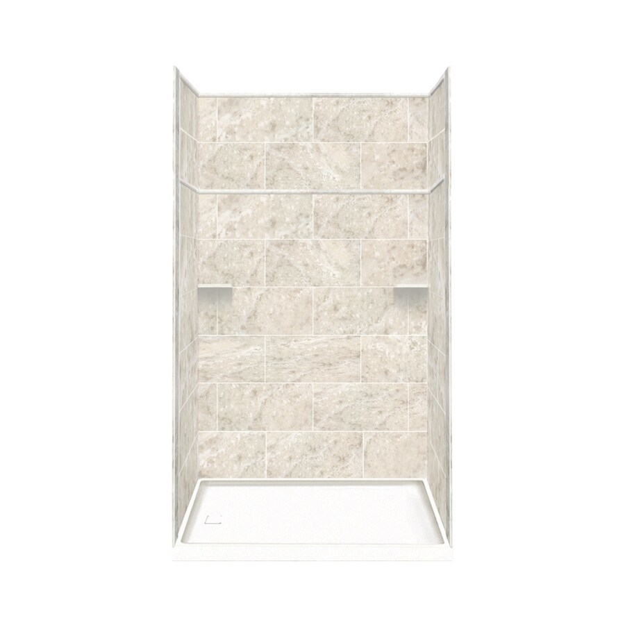 Style Selections Silver Mocha Solid Surface Wall and Floor 5-Piece Alcove Shower Kit (Common: 30-in x 60-in; Actual: 99-in x 30-in x 60-in)