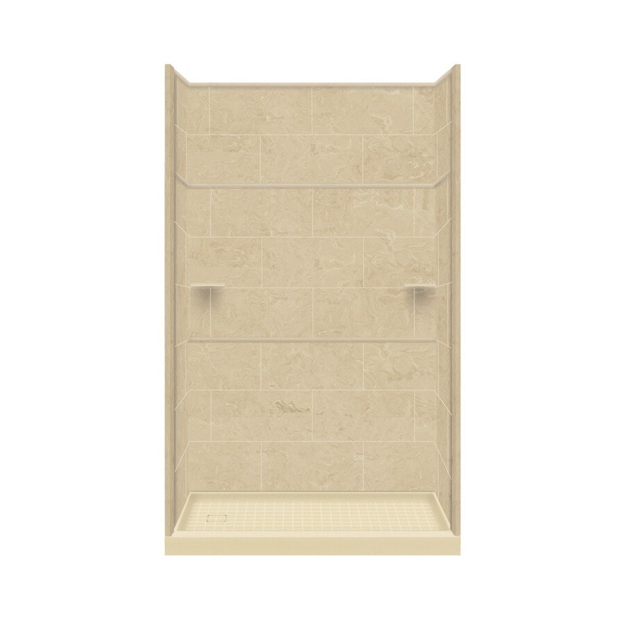 Style Selections Almond Sky Solid Surface Wall and Floor 5-Piece Alcove Shower Kit (Common: 30-in x 60-in; Actual: 99-in x 30-in x 60-in)
