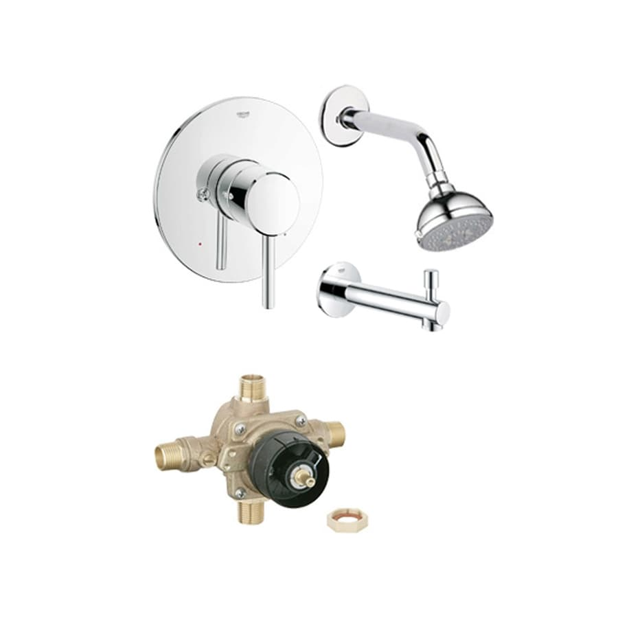 GROHE Concetto Starlight Chrome 1-Handle Bathtub and Shower Faucet with Multi-Function Showerhead