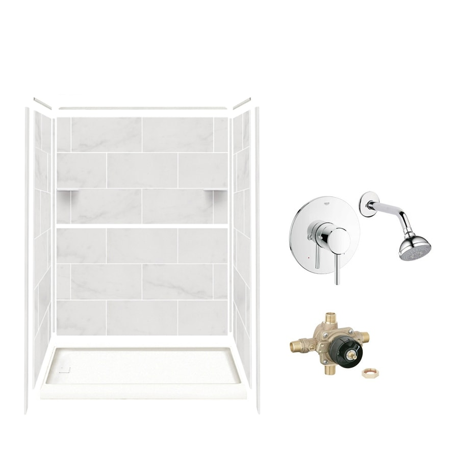 Style Selections White Carrara Solid Surface Wall and Floor 5-Piece Alcove Shower Kit (Common: 32-in x 60-in; Actual: 75-in x 36-in x 60-in)