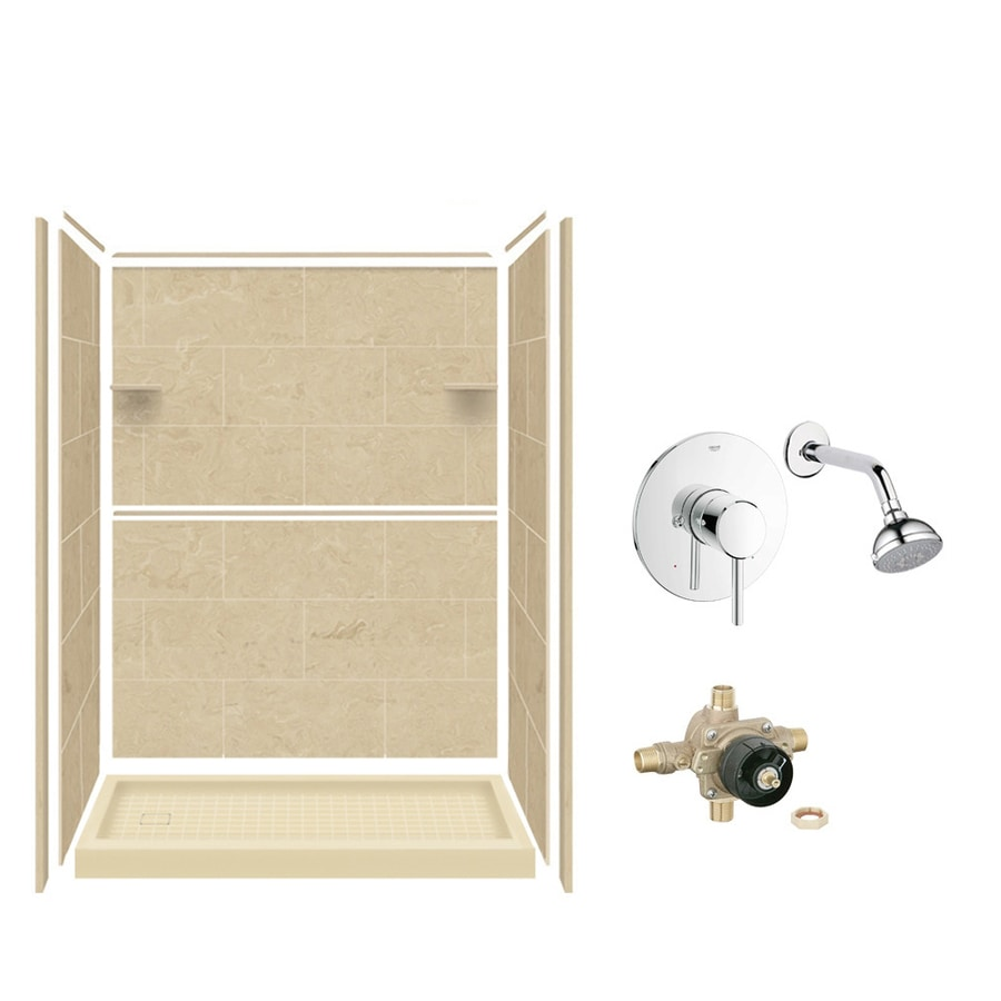 Style Selections Almond Sky Solid Surface Wall and Floor 5-Piece Alcove Shower Kit (Common: 32-in x 60-in; Actual: 75-in x 36-in x 60-in)