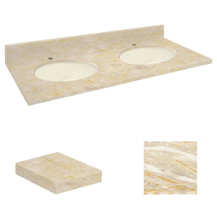 Transolid Oman Beige Natural Marble Undermount Double Sink Bathroom Vanity Top (Common: 61-in x 22-in; Actual: 61-in x 22.25-in)