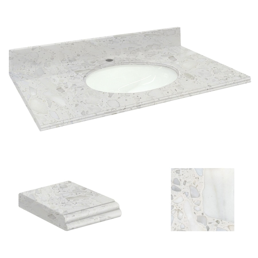 Transolid Crystal Sands Natural Marble Undermount Single Sink Bathroom Vanity Top (Common: 49-in x 19-in; Actual: 49-in x 19.25-in)