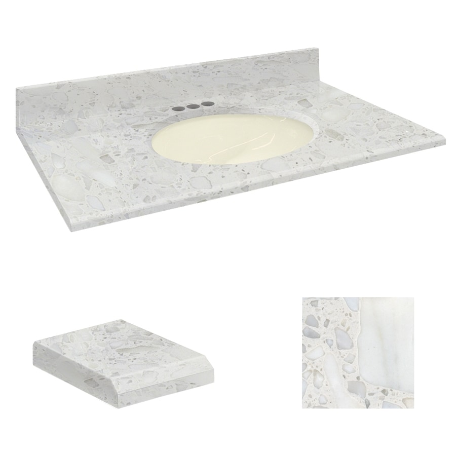 Transolid Crystal Sands Natural Marble Undermount Single Sink Bathroom Vanity Top (Common: 31-in x 22-in; Actual: 31-in x 22.25-in)
