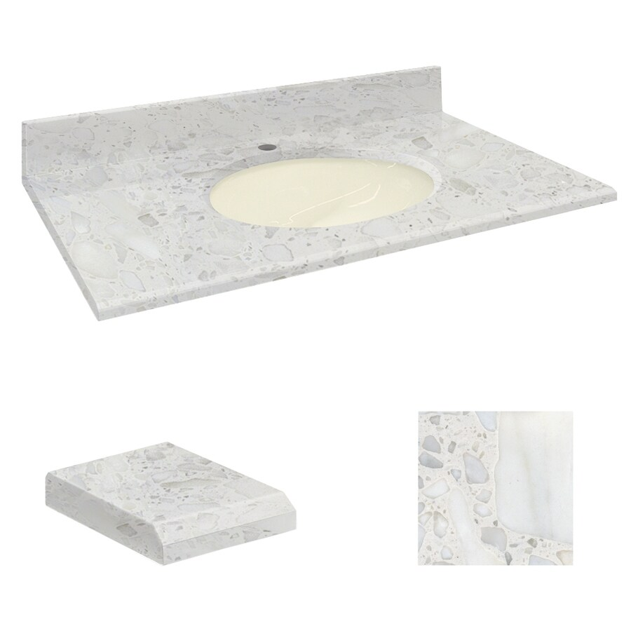 Transolid Crystal Sands Natural Marble Undermount Single Sink Bathroom Vanity Top (Common: 61-in x 22-in; Actual: 61-in x 22.25-in)