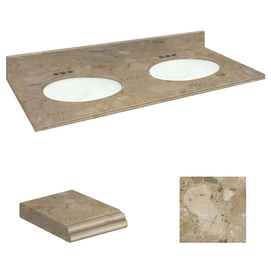 Transolid Java Coast Natural Marble Undermount Double Sink Bathroom Vanity Top (Common: 61-in x 22-in; Actual: 61-in x 22.25-in)