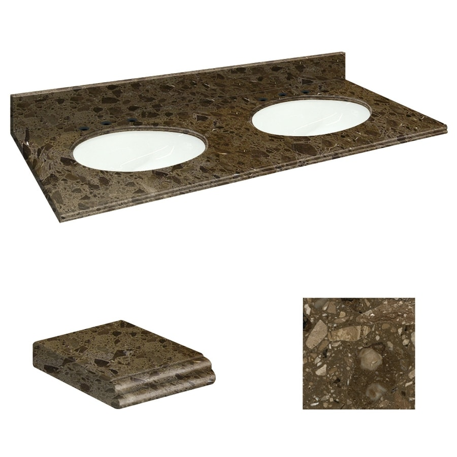 Transolid Cacao Nougat Natural Marble Undermount Double Sink Bathroom Vanity Top (Common: 61-in x 22-in; Actual: 61-in x 22.25-in)