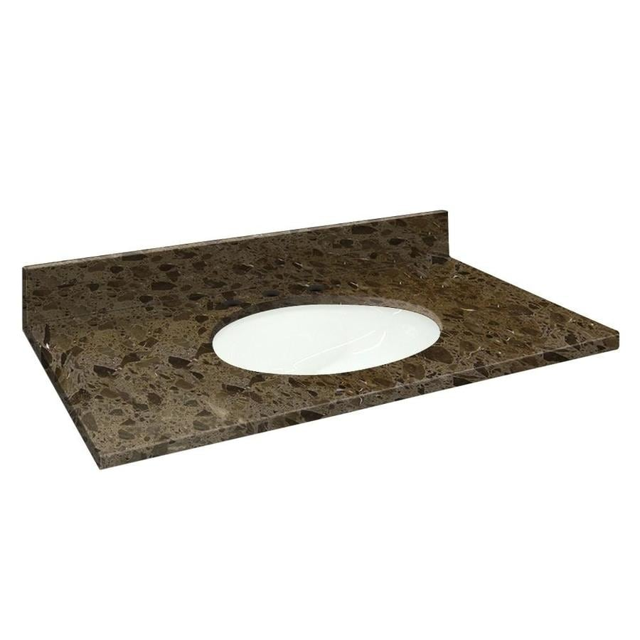 Transolid Cacao Nougat Natural Marble Undermount Single Sink Bathroom Vanity Top (Common: 49-in x 22-in; Actual: 49-in x 22.25-in)