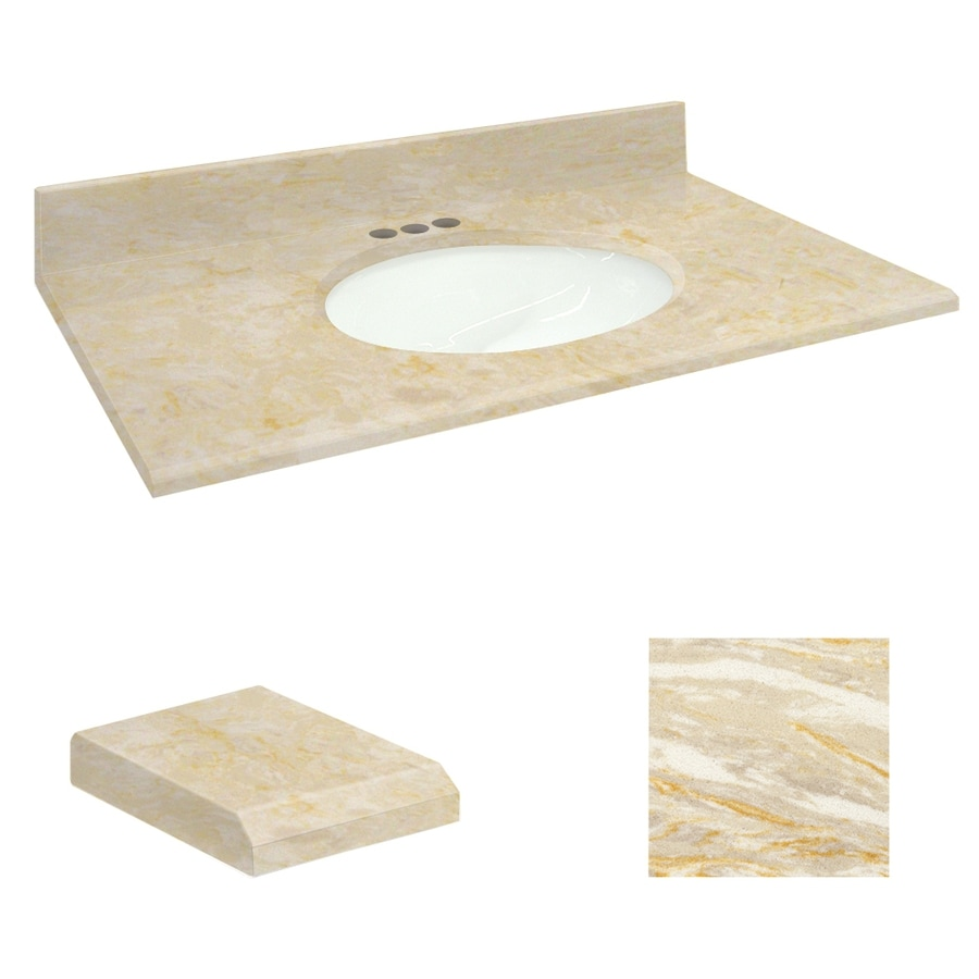 Transolid Oman Beige Natural Marble Undermount Single Sink Bathroom Vanity Top (Common: 61-in x 22-in; Actual: 61-in x 22.25-in)