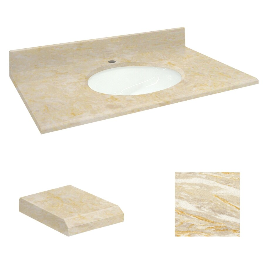 Transolid Oman Beige Natural Marble Undermount Single Sink Bathroom Vanity Top (Common: 25-in x 19-in; Actual: 25-in x 19.25-in)