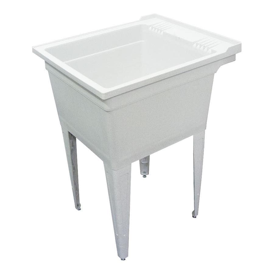 Freestanding Laundry Tub : ... in 1-Basin Gray Freestanding Polypropylene Tub Utility Sink with Drain
