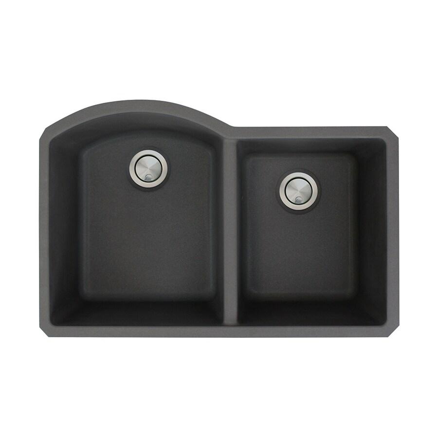 Transolid Aversa 20.5-in x 31.5-in Black Double-Basin Granite Undermount Residential Kitchen Sink