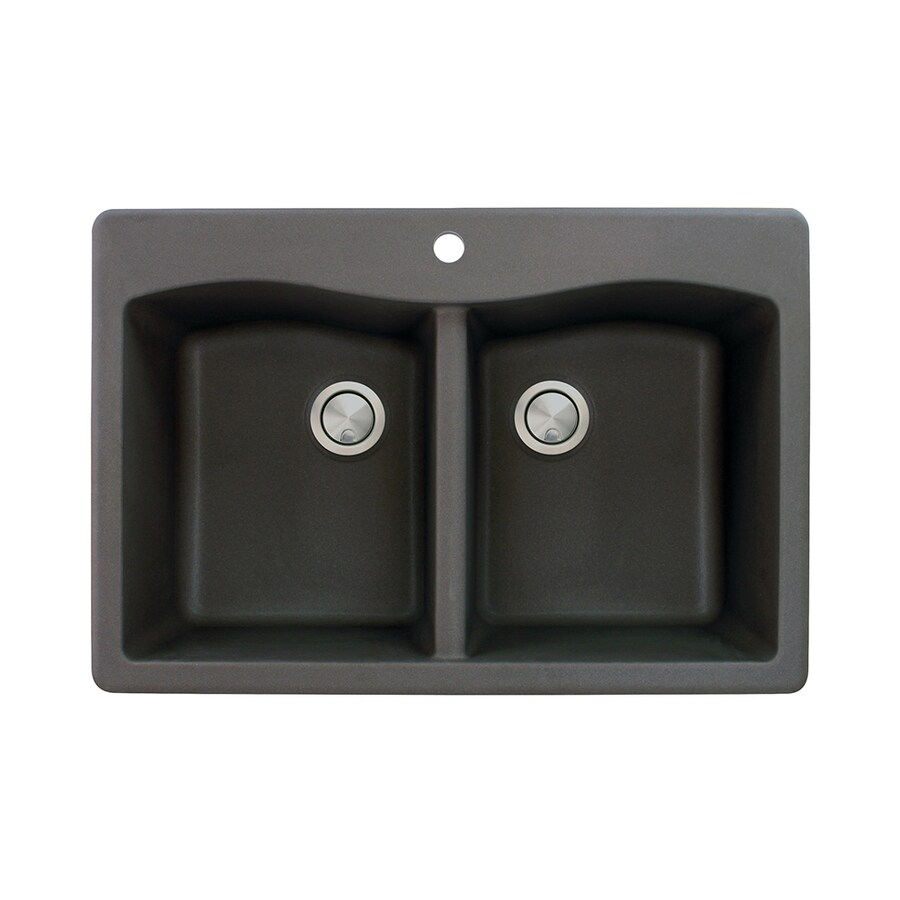 Transolid Aversa 22-in x 33-in Black Double-Basin Granite Drop-in 1-Hole Residential Kitchen Sink
