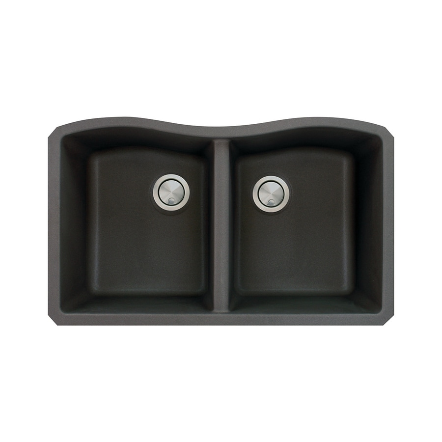 Transolid Aversa 19-in x 32-in Black Double-Basin Granite Undermount Residential Kitchen Sink