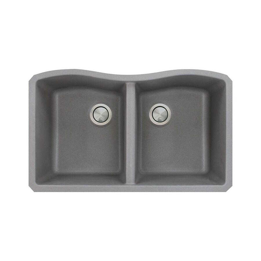 Transolid Aversa 19-in x 32-in Grey Double-Basin Granite Undermount Residential Kitchen Sink