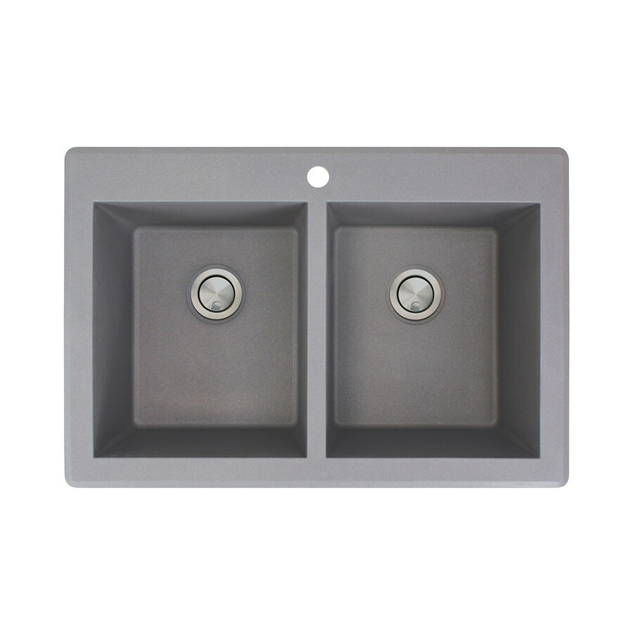 Transolid Radius 22-in x 33-in Grey Double-Basin Granite Drop-in 1-Hole Residential Kitchen Sink