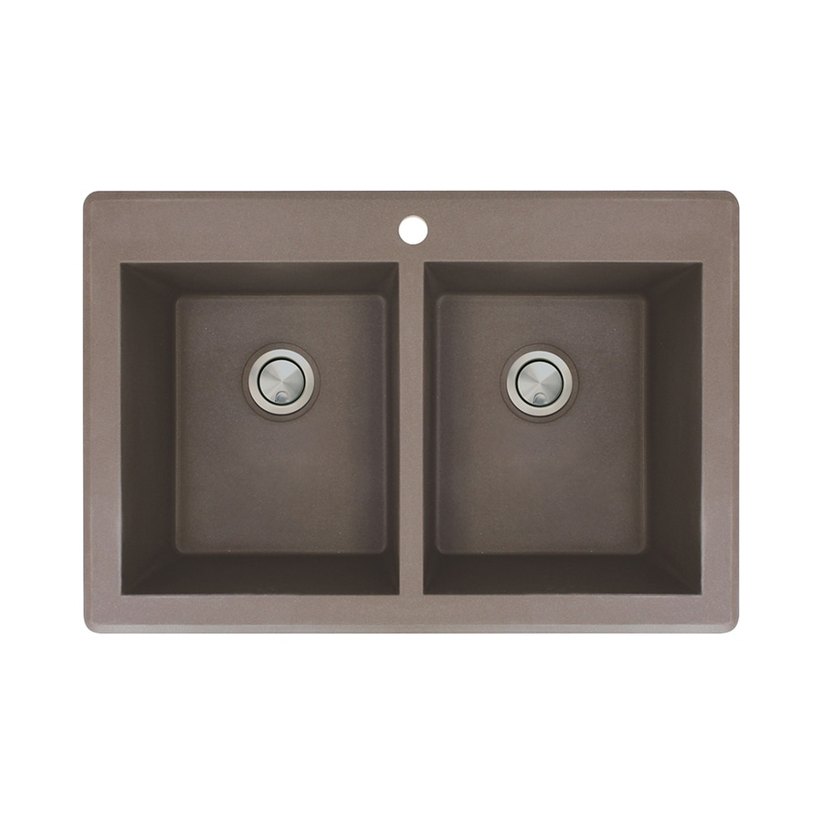 Transolid Radius 22-in x 33-in Espresso Double-Basin Granite Drop-in 1-Hole Residential Kitchen Sink
