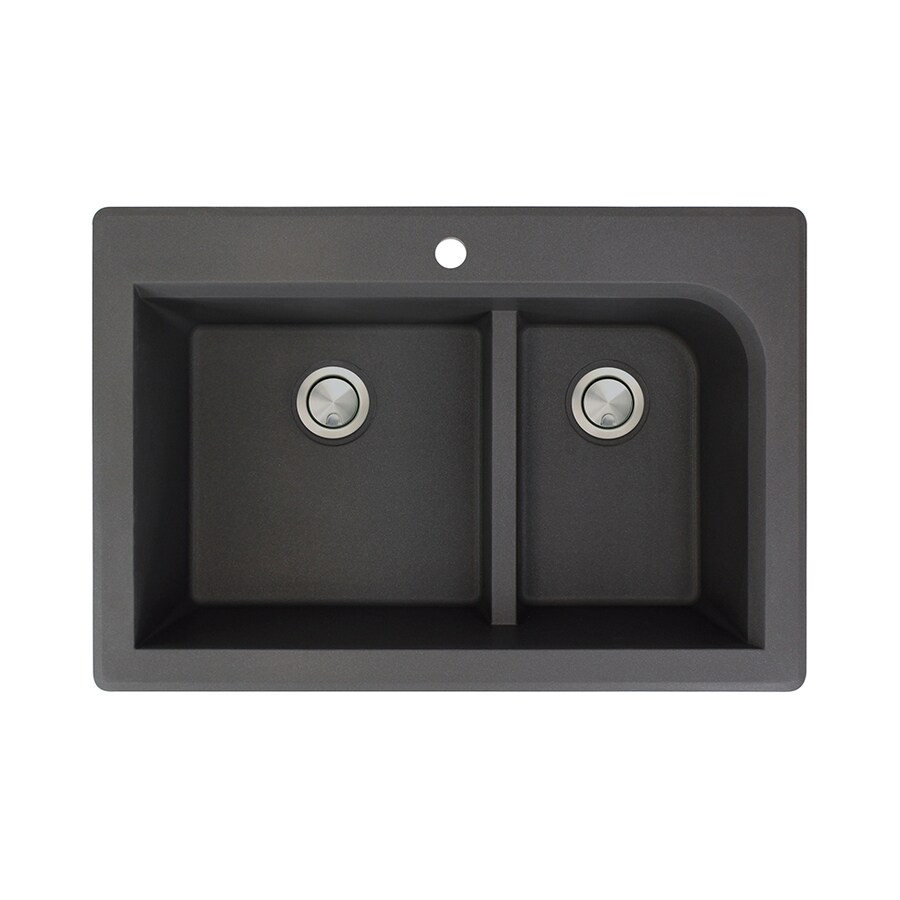 Transolid Radius 22-in x 33-in Black Double-Basin Granite Drop-in 1-Hole Residential Kitchen Sink