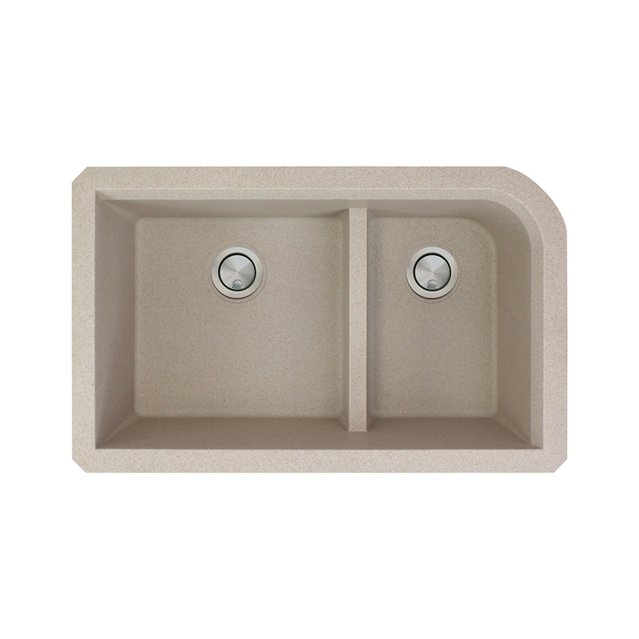 Transolid Radius 18.5-in x 31-in Cafe Latte Double-Basin Granite Undermount Residential Kitchen Sink