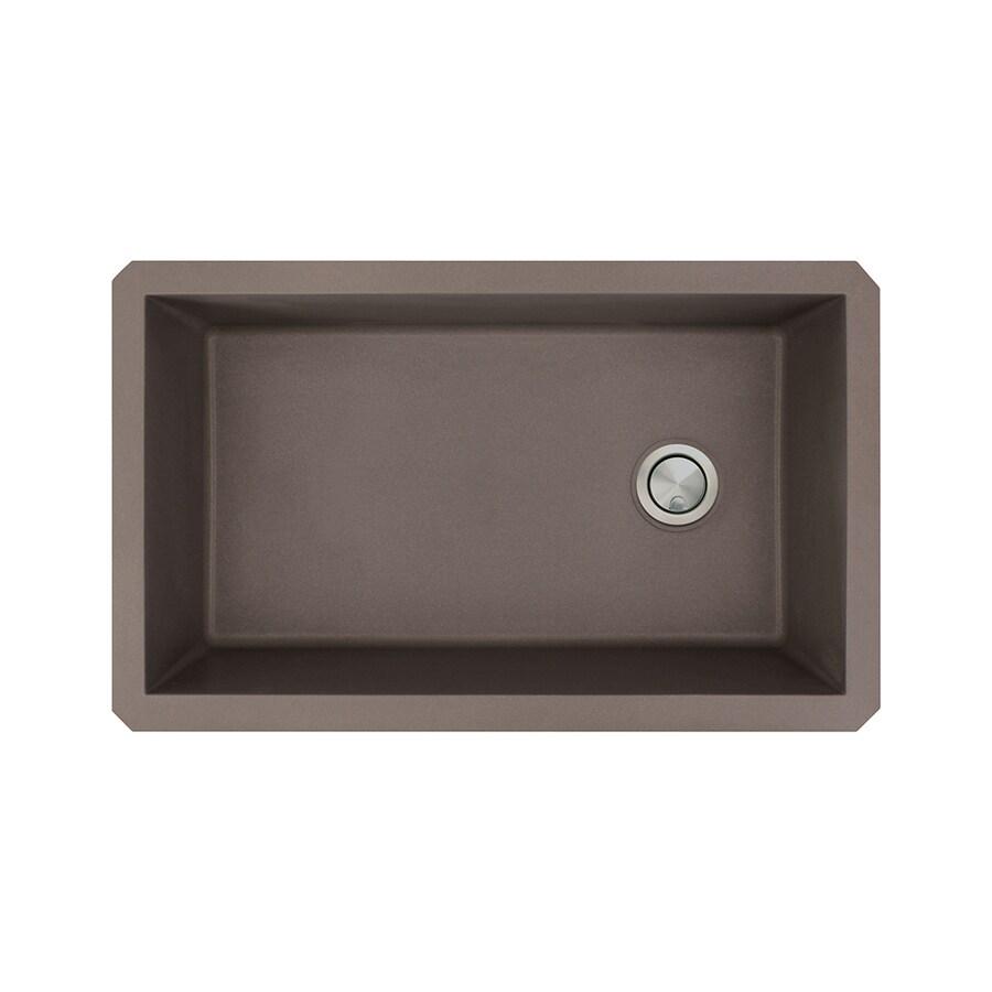 Transolid Radius 18.5-in x 31-in Espresso Single-Basin Granite Undermount Residential Kitchen Sink