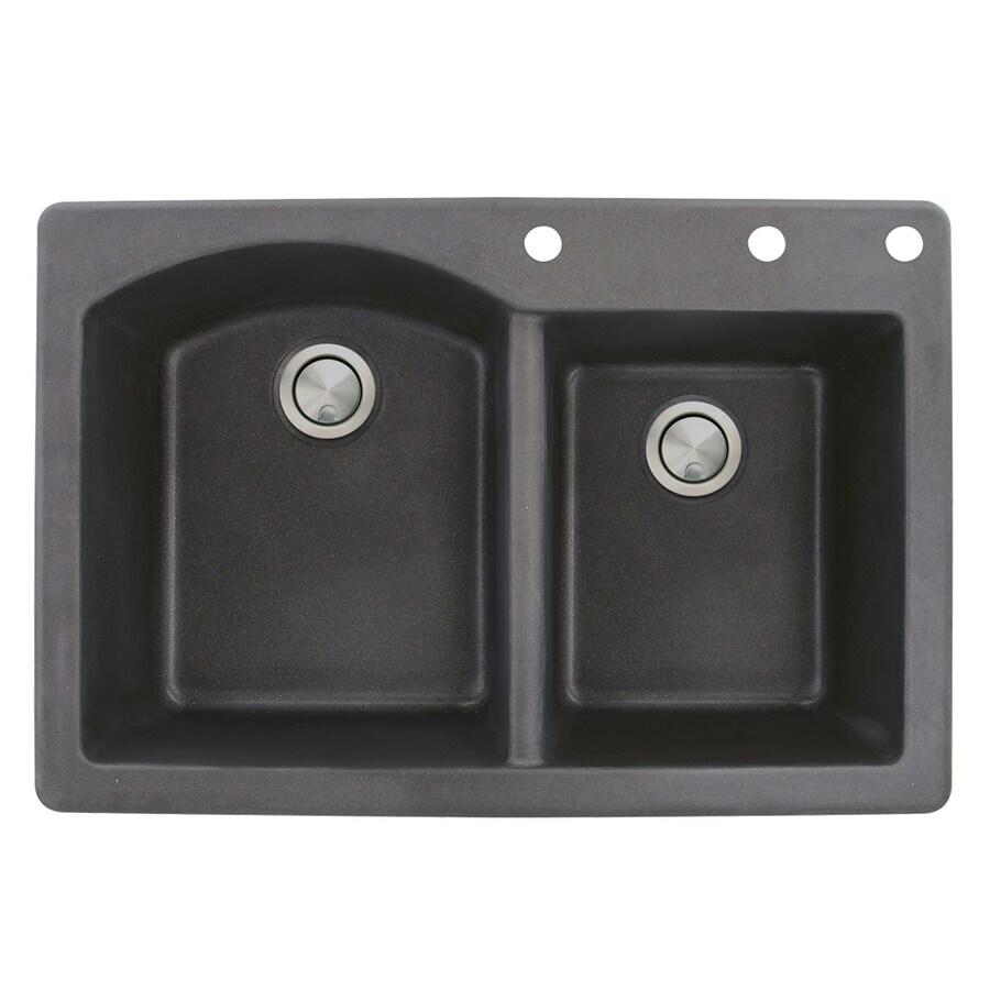 Transolid Aversa 22-in x 33-in Black Double-Basin Granite Drop-in 3-Hole Residential Kitchen Sink