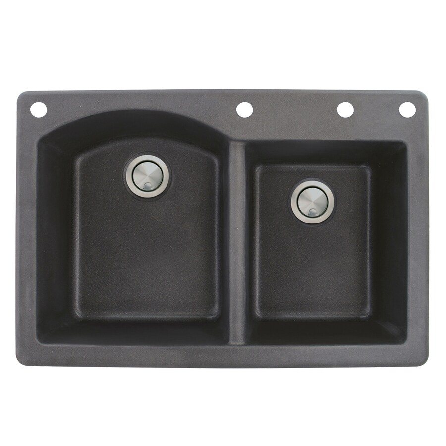 Transolid Aversa 22-in x 33-in Black Double-Basin Granite Drop-in 4-Hole Residential Kitchen Sink