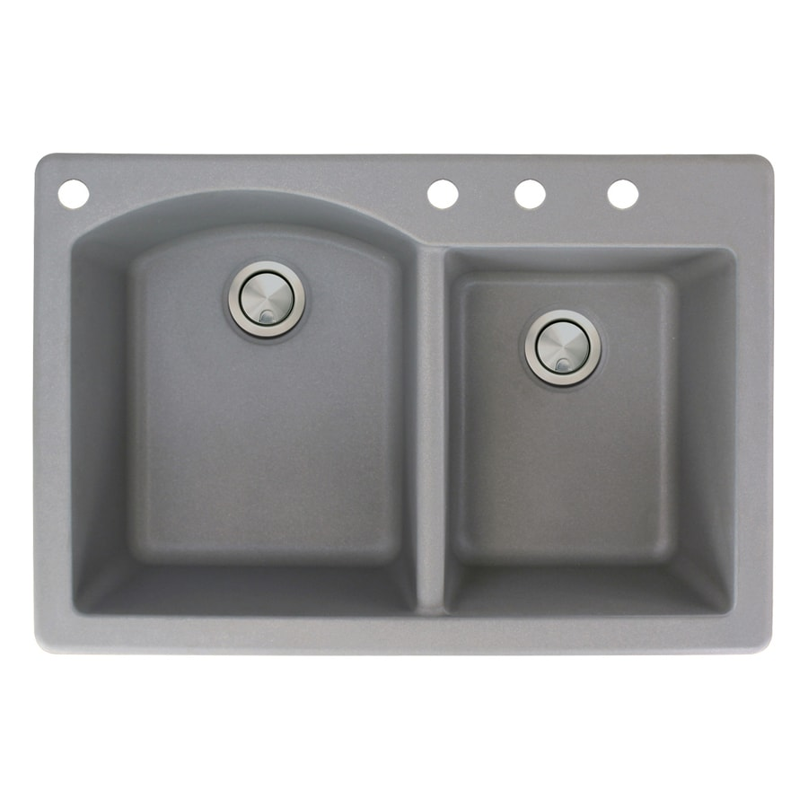 Transolid Aversa 22-in x 33-in Grey Double-Basin Granite Drop-in 4-Hole Residential Kitchen Sink