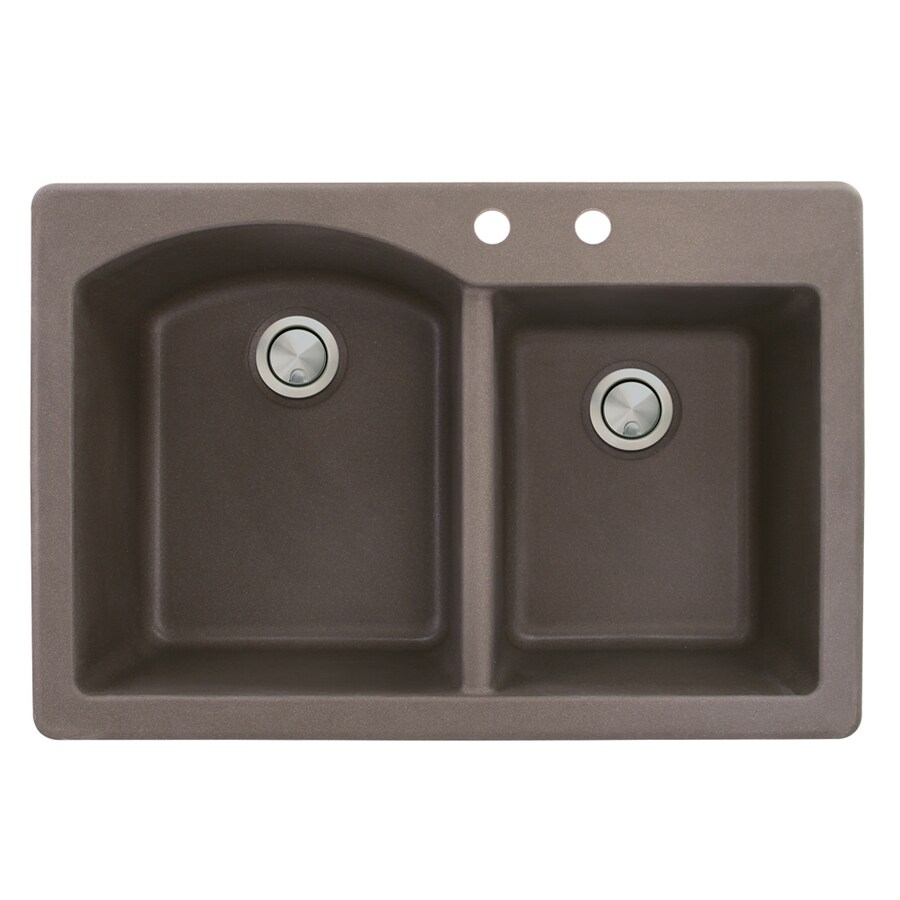 Transolid Aversa 22-in x 33-in Espresso Double-Basin Granite Drop-in 2-Hole Residential Kitchen Sink
