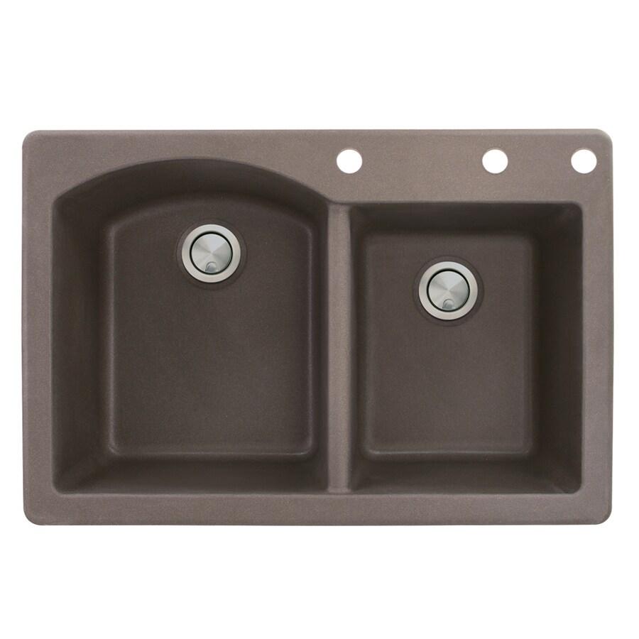 Transolid Aversa 22-in x 33-in Espresso Double-Basin Granite Drop-in 3-Hole Residential Kitchen Sink
