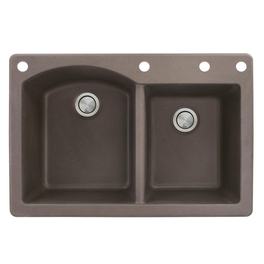 Transolid Aversa 22-in x 33-in Espresso Double-Basin Granite Drop-in 4-Hole Residential Kitchen Sink
