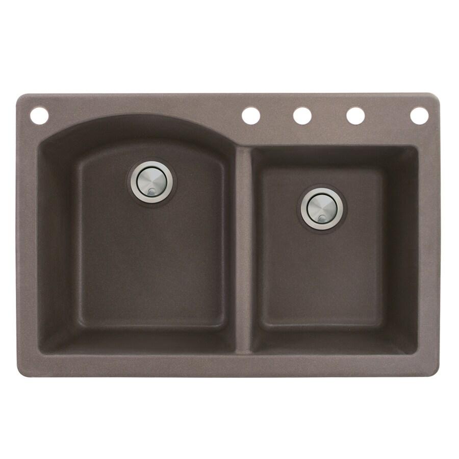 Transolid Aversa 22-in x 33-in Espresso Double-Basin Granite Drop-in 5-Hole Residential Kitchen Sink
