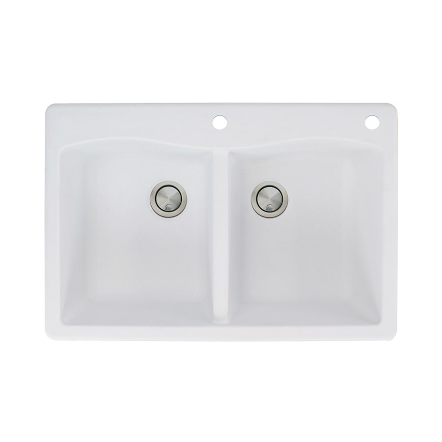 Transolid Aversa 22-in x 33-in White Double-Basin Granite Drop-in 2-Hole Residential Kitchen Sink