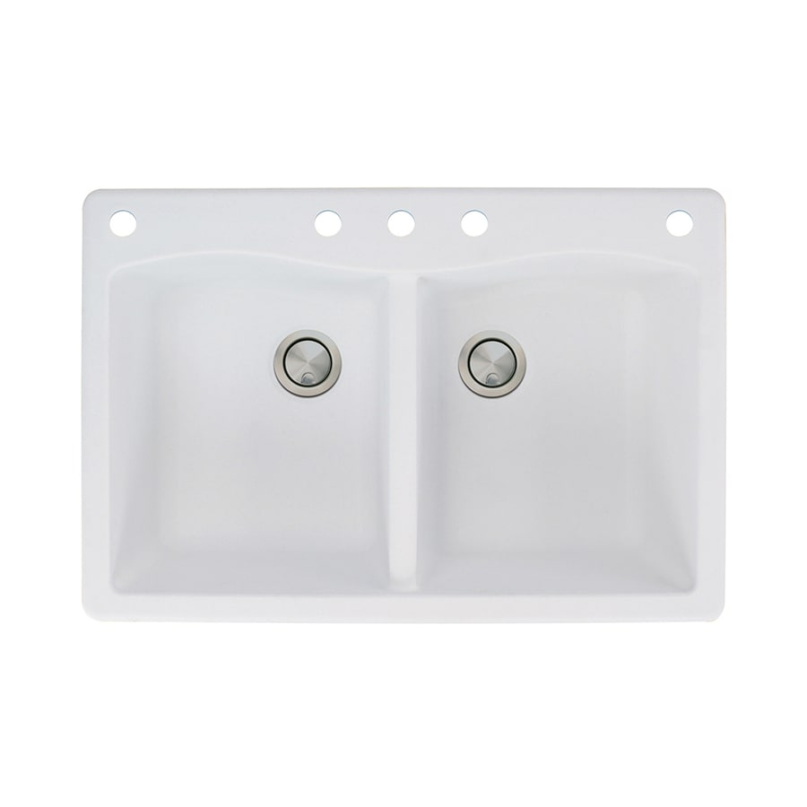 Transolid Aversa 22-in x 33-in White Double-Basin Granite Drop-in 5-Hole Residential Kitchen Sink