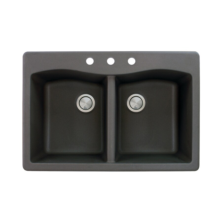 Transolid Aversa 22-in x 33-in Black Double-Basin Granite Drop-in 3-Hole Residential Kitchen Sink