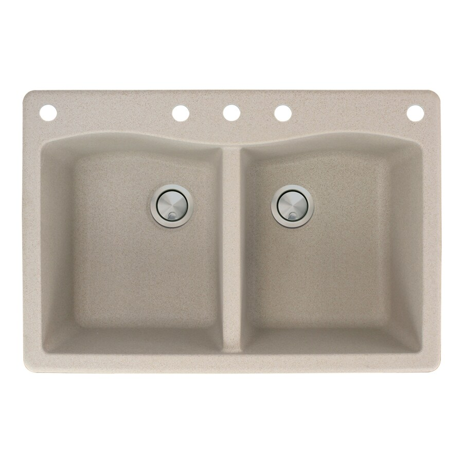 Transolid Aversa 22-in x 33-in Cafe Latte Double-Basin Granite Drop-in 5-Hole Residential Kitchen Sink