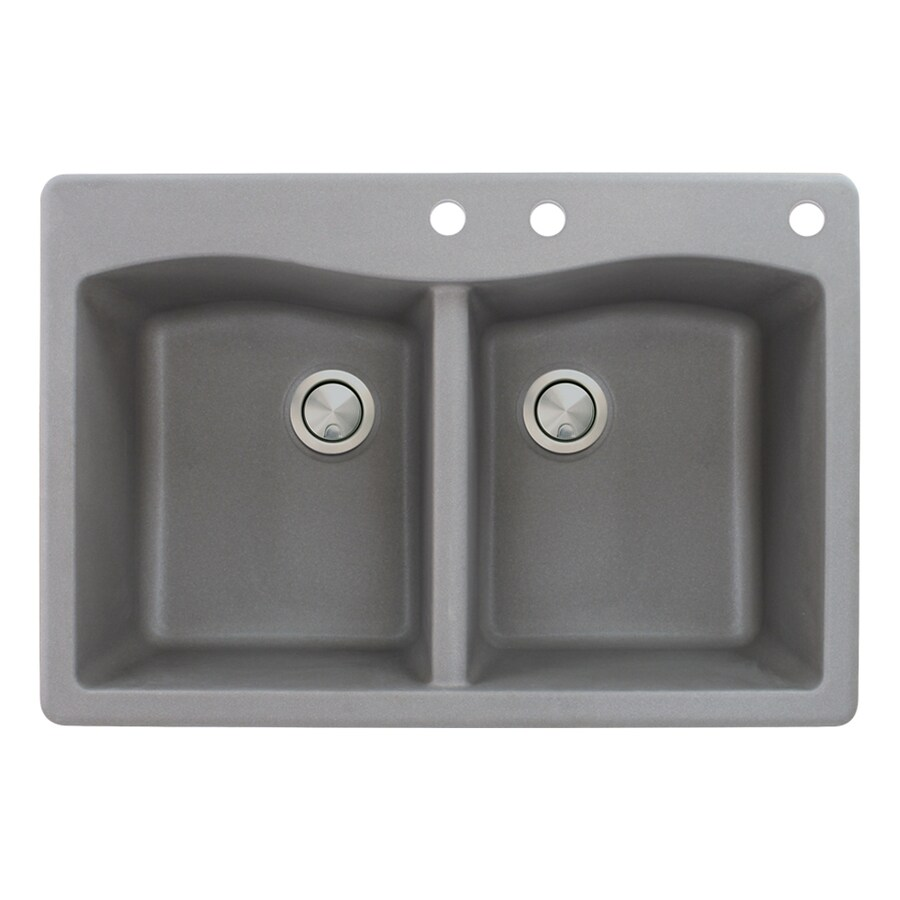 Transolid Aversa 22-in x 33-in Grey Double-Basin Granite Drop-in 3-Hole Residential Kitchen Sink