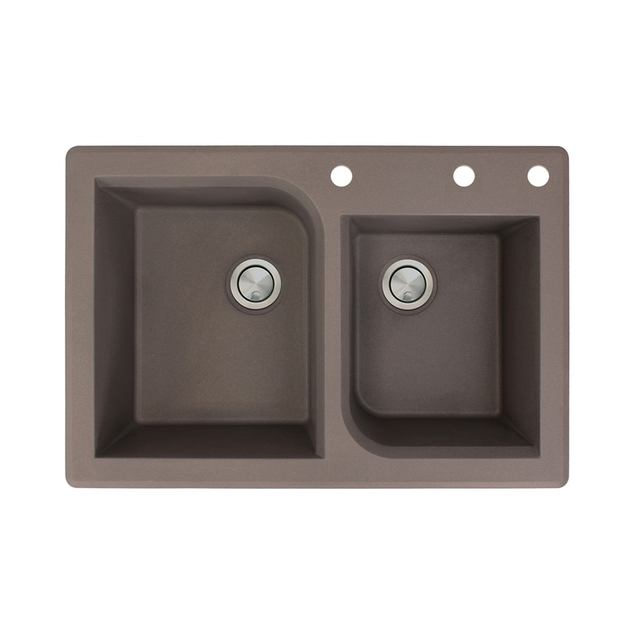 Transolid Radius 22-in x 33-in Espresso Double-Basin Granite Drop-in 3-Hole Residential Kitchen Sink