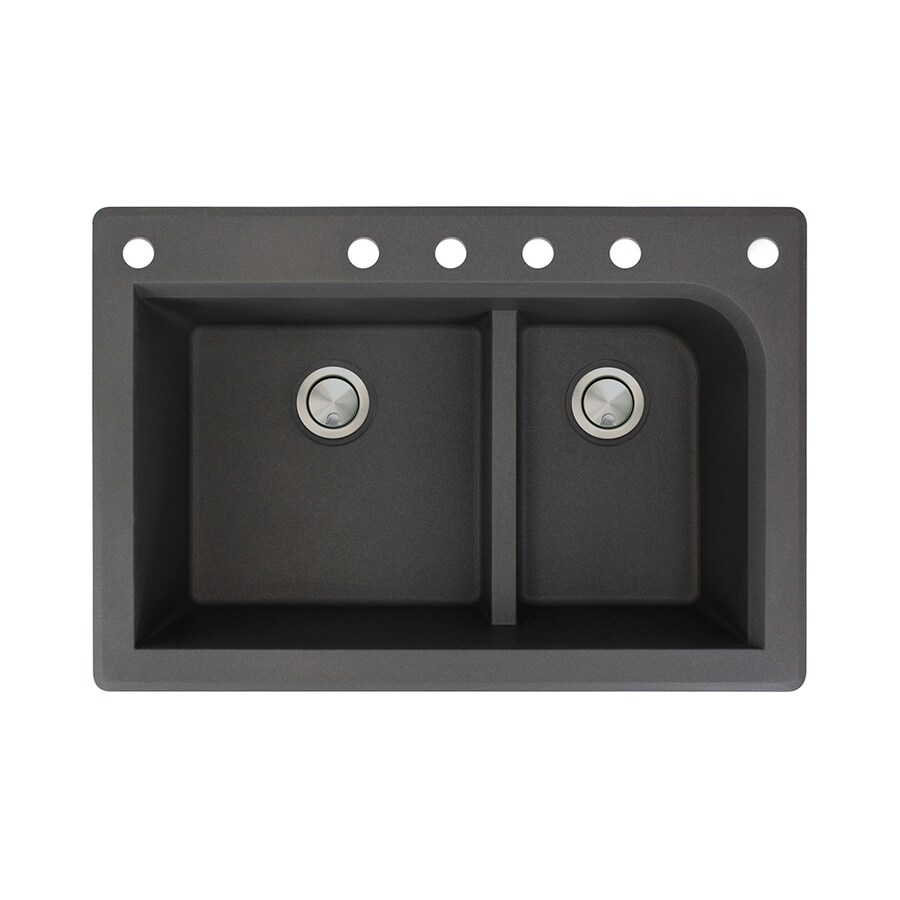 Transolid Radius 22-in x 33-in Black Double-Basin Granite Drop-in 6-Hole Residential Kitchen Sink