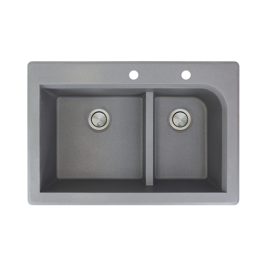 Transolid Radius 22-in x 33-in Grey Double-Basin Granite Drop-in 2-Hole Residential Kitchen Sink