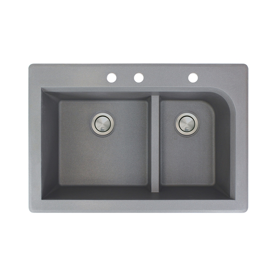 Transolid Radius 22-in x 33-in Grey Double-Basin Granite Drop-in 3-Hole Residential Kitchen Sink