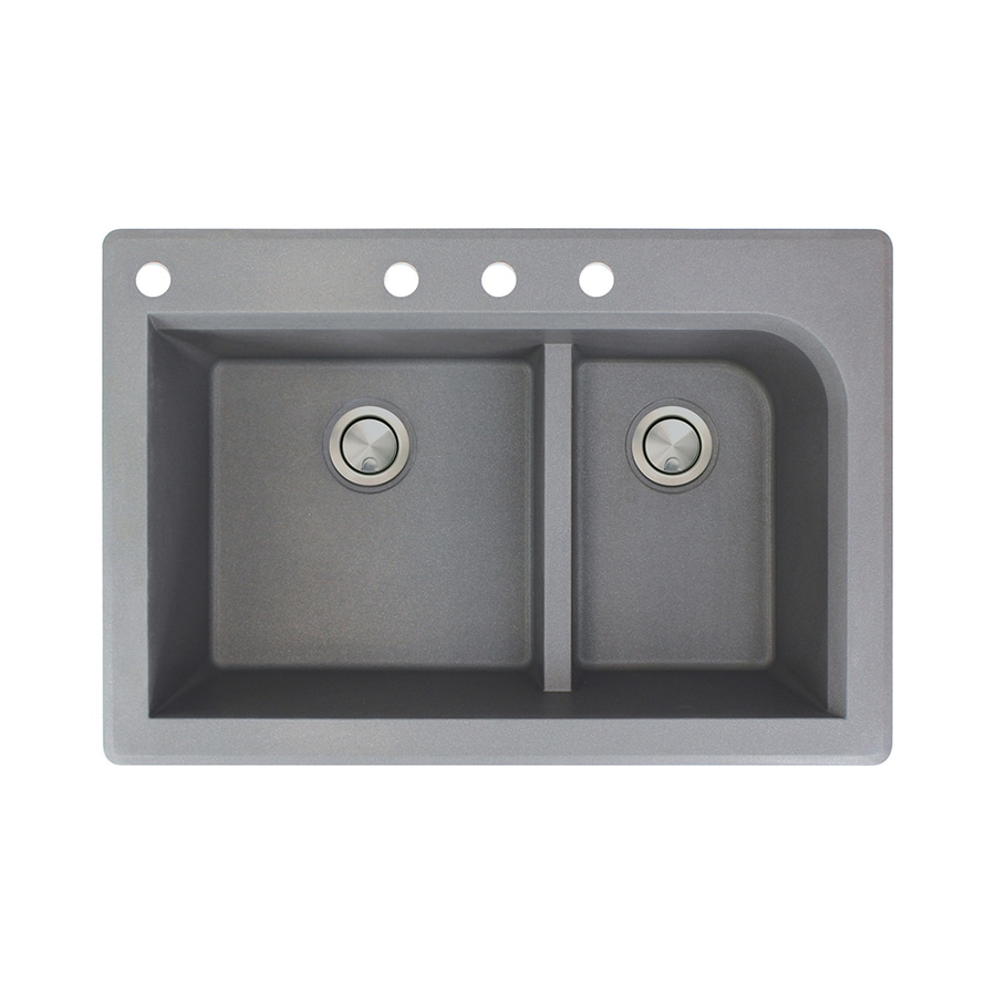 Transolid Radius 22-in x 33-in Grey Double-Basin Granite Drop-in 4-Hole Residential Kitchen Sink