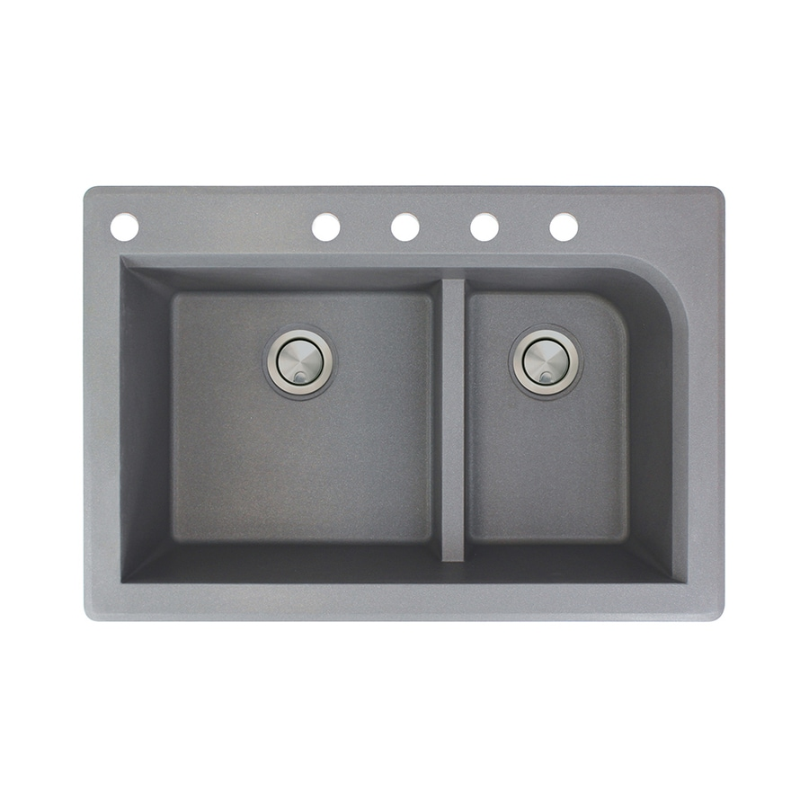 Transolid Radius 22-in x 33-in Grey Double-Basin Granite Drop-in 5-Hole Residential Kitchen Sink