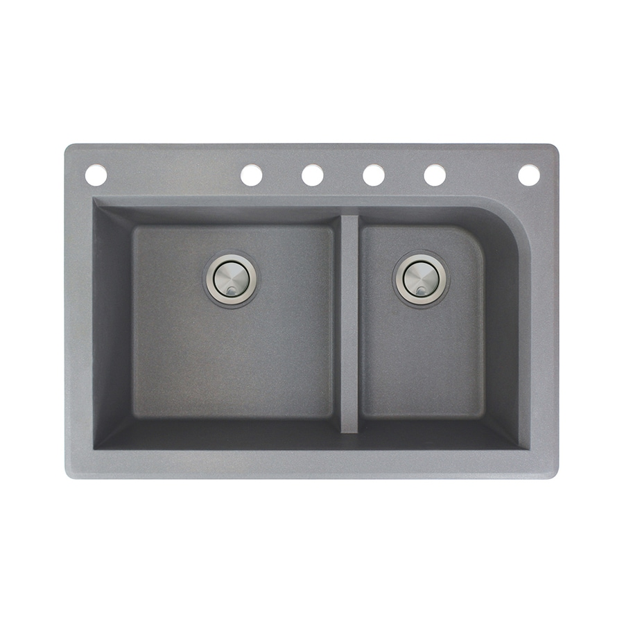Transolid Radius 22-in x 33-in Grey Double-Basin Granite Drop-in 6-Hole Residential Kitchen Sink