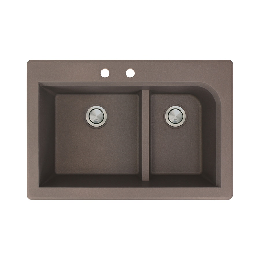Transolid Radius 22-in x 33-in Espresso Double-Basin Granite Drop-in 2-Hole Residential Kitchen Sink