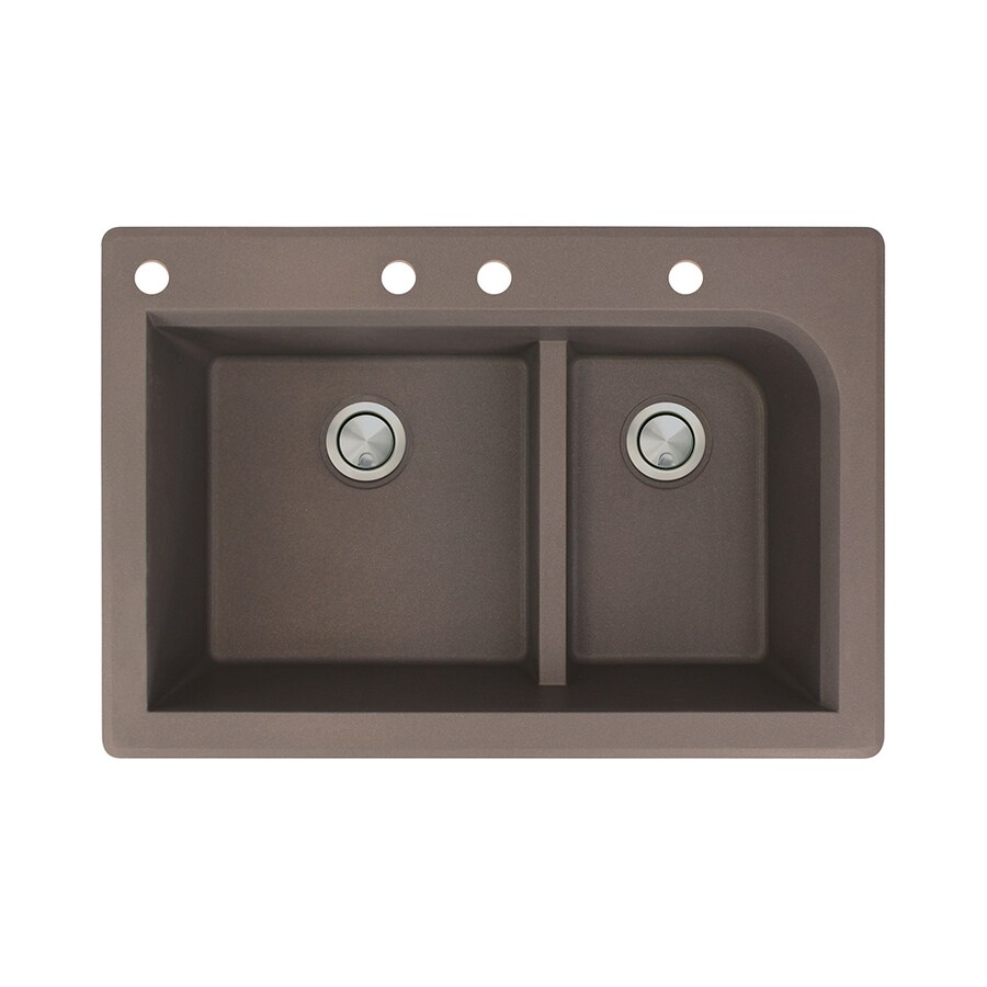 Transolid Radius 22-in x 33-in Espresso Double-Basin Granite Drop-in 4-Hole Residential Kitchen Sink