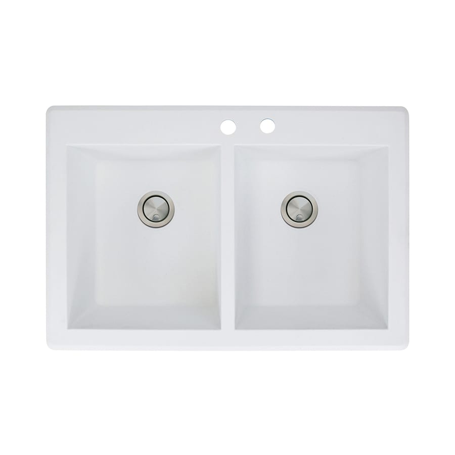 26.8125 x 17.75 x 9 Transolid RTDJ3322-01-CAB Radius Granite 3-Hole Drop-In Double Bowl Kitchen Sink White