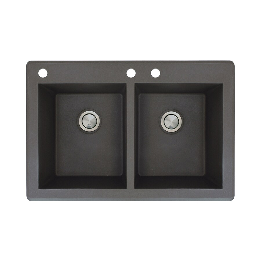 Transolid Radius 22-in x 33-in Black Double-Basin Granite Drop-in 3-Hole Residential Kitchen Sink