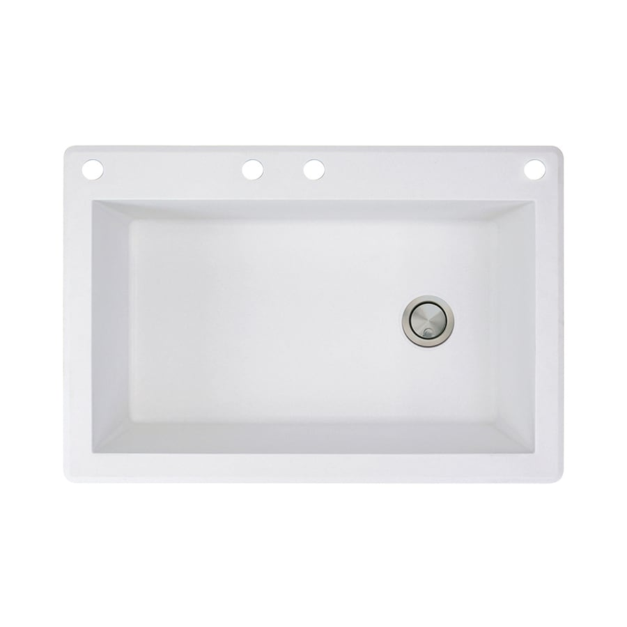 Transolid Radius 22-in x 33-in White Single-Basin Granite Drop-in 4-Hole Residential Kitchen Sink